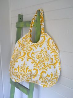 The Big Round Bag Yellow  Damask by thejoyschoppe, $40.00