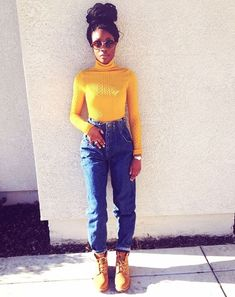 A lot of people opt for turtlenecks in basic colors, like black or gray, but there's no reason you can't stand out. Pick a bright turtleneck sweater, like this yellow one, for a real statement piece. Tomboy Fashion, Black Girl Fashion, Fashion Killa, Look Fashion, Urban Fashion, 90s Fashion, Fashion Outfits, Womens Fashion, Fashion Ideas