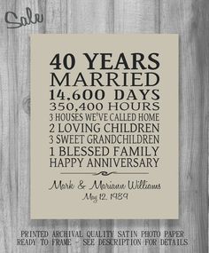SALE Anniversary Gift Parents Personalized Print Poster Family Marriage Subway Sign 10th 20th 25th 30th 40th 50th Gift for Husband