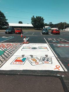 Senior Trip, Senior Year, Space Painting, Floor Painting, Parking Spot Painting, School Countdown, Space Names, Parking Spots, Future School