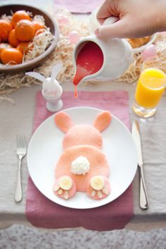 Pink Bunny Pancakes with Strawberry Glaze