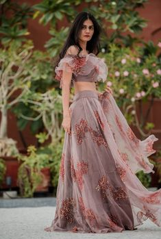 Get ready to be mesmerised. Discover vintage hues and indo-western silhouettes with PLEATS. Indian Designer Outfits, Designer Dresses, Indian Dresses, Indian Outfits, Stylish Dresses, Fashion Dresses, Lehnga Dress, Indian Lehenga, Lehenga Designs