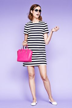 a kate spade new york style commandment: there's never a bad time for a bold stripe. you'll pop even more with a punchy pink bag and optic white flats. (february, 2015)