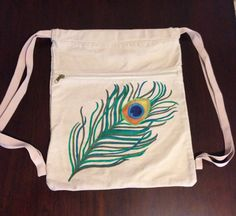 Drawstring Backpack With Hand Peacock Feather on Etsy, $32.00