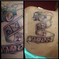 #custompiece #filmstrip #familymemories #backpiece #girlswithink #ladytattooist #tattoo #blackandgrey