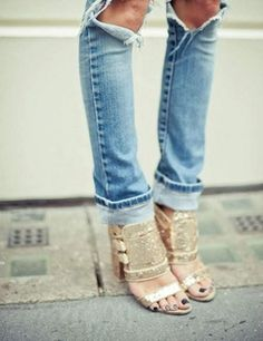 sparkly shoes + ripped jeans