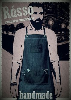 Rasso apron barber barista leather denim