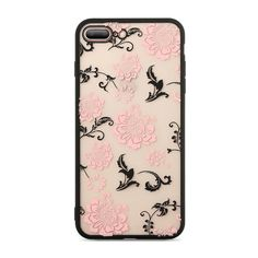 Lace Case For iPhone X 10 Cover For iPhone 6 7 8 plus Case Silicone Transparent Pink Black Flowers Cute Fashion Fundas Iphone 8 Plus, Iphone 7, Apple Iphone 6, Iphone Cases, Rose Phone Case, Diy Phone Case, Black Flowers, Red Roses, Tequila Rose