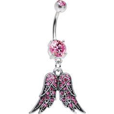 Pink Gem Crystal Elegant Angel Wings Dangle Belly Ring