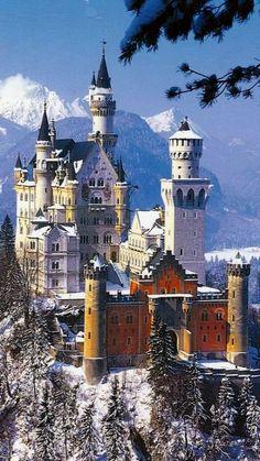 Neuschwanstein Castle in winter, Hohenschwangau, Bavaria, Germany | Flickr - Photo by jasmine8559