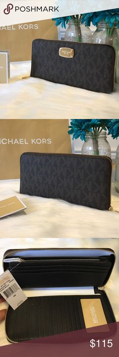 "🆕 Michael Kors Wallet Travel Brown Zip Around Brand New 100% Authentic  MICHAEL Michael Kors MK SIGNATURE PVC  Jet Set Travel Wallet Brown Zip Around  Style: 35H5GJSZ7B ✨Retail $178.00 ✨Color:Brown  ✨PVC high quality leather exterior ✨Gold hardware ✨MK logo name plate front center ✨1 ID window,  ✨20 credit card slots,  ✨1 large multi-purpose slot,  ✨3 large bill compartment, &  ✨1 zippered coin pocket. ✨MK signature logo and saffiano leather lining ✨Measures: 9""L x 5""H x 1""D ✨Size…"