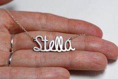 Gold name Necklace Custom gold name necklace by capucinne on Etsy