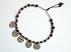 natural ceramic necklace with stripes white and brown by Egeo