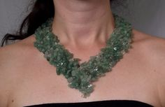 Crochet wire necklace, bib necklace, collar necklace, crochet gemstone necklace, green necklace. $48.00, via Etsy.