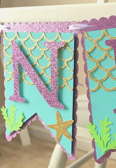 Purple and Gold Mermaid High Chair Banner, Glitter First Birthday Banner for Girls, One Party Buntin Glitter First Birthday, Mermaid Theme Birthday, Girl First Birthday, First Birthday Parties, First Birthdays, Birthday Wishes, 5th Birthday, First Birthday Party Decorations, Mermaid Party Decorations