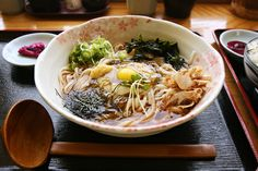 SOBA!!! udon with vinegary seaweed, grated yam, ginger