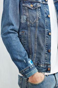 Levis Shibori Repaired Denim Trucker Jacket - Urban Outfitters