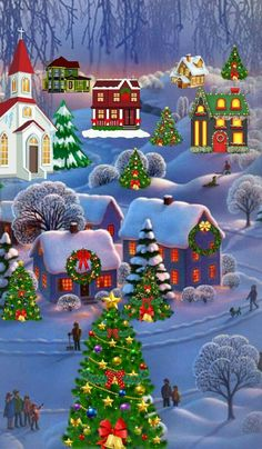 Solve Christmas scene jigsaw puzzle online with 66 pieces Merry Christmas Wallpaper, Merry Christmas Images, Noel Christmas, Vintage Christmas Cards, Christmas Crafts, Christmas Decorations, Christmas Scenes Wallpaper, Christmas Costumes, Illustration Noel
