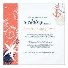 Shop Coral Navy Blue White Nautical Wedding Invitation created by BridalHeaven. Personalize it with photos & text or purchase as is! Nautical Wedding Invitations, Nautical Wedding Theme, Destination Wedding Invitations, Rustic Invitations, Wedding Stationery, Invitation Wording, Invitation Suite, Invitation Ideas, Destination Weddings