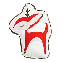 Reindeer Throw Pillow, perfect for decorating your kiddo's room for the holidays. Designed for Nod by Gingiber.