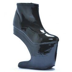 BP579-SAFFO Women High Heel No Heel Curved Platform Ankle High Boot - Black