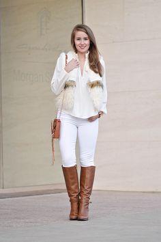 white fur vest, chic wish vest, white vest, white in winter, southern girl style, rebecca mink mini mac, heeled riding boots