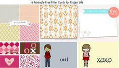 6 Free Printable Filler Cards for Project Life