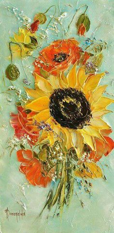Sunflower Impasto painting with lots of texture.