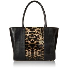 Anne Klein Run Wild Tote Bag (935 UAH) ❤ liked on Polyvore featuring bags, handbags, tote bags, anne klein tote, black handbags, anne klein tote bag, black tote and anne klein purses