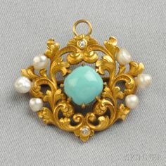Art Nouveau 14kt Gold, Turquoise, and Freshwater Pearl Pendant/Brooch, centering a cushion-shape turquoise cabochon within a scrolling foliate mount with old mine-cut diamond and freshwater pearl accents, lg. 1 1/2 in.