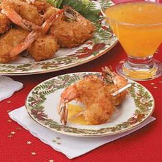 1-1/4 cups all-purpose flour  1/4 teaspoon seafood seasoning  1 egg, beaten  3/4 cup pineapple juice  1 package (14 ounces) flaked coconut  1 pound large shrimp, peeled and deveined  Oil for deep-fat frying  Sweet-and-sour sauce, plum sauce or Dijon mustard, optional