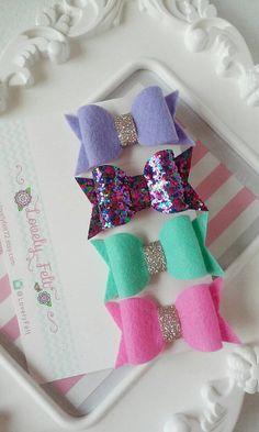 Felt Bow Hair Clips Set-Lilac, Light Mint, Hot Pink & Confetti Glitter Bow Hair Clips. Girl Hair Clips- Baby Hair clips -Toddlers Hair Bows