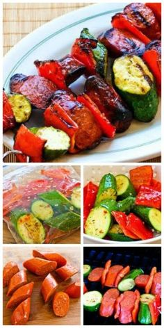 Ease into summer grilling with this recipe for the World's Easiest Grilled Zucchini and Sausage Kabobs; you can use pork, beef, chicken, or turkey sausage. [from Kalyn's Kitchen] #Grilling #Kabobs #Low-Carb -- Make these with your favorite Johnsonville Smoked Sausage.