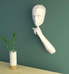 PDF à transformer en sculpture murale - Le papercraft 3D Impression 3d, Inventions, Halloween, Palette, Home Decor, Places, Human Head, Sculpture, Paper Envelopes