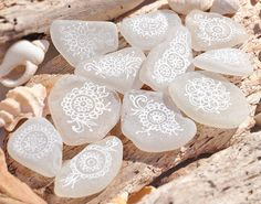 Hand Painted Mehndi Style Patterned White Sea Glass Pieces, Beach Weddings…