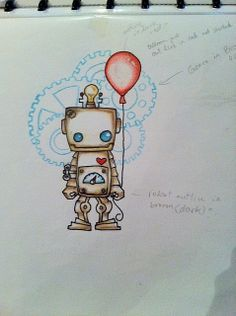 This is super cute! (robot tattoo design 1 by ... | Robot.