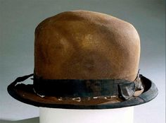 oldrags:    A hat found at the Titanic wreck site, ca 1912  100 years ago a couple minutes from now, this iceberg tore long gashes on the side (and possibly the bottom) of the Titanic.  It sank 375 miles south of Newfoundland at 1:20 AM EDT.  I saw this and all the other personal items when that big traveling exhibit was in Raleigh and it was just as sad as it was spooky.