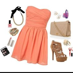 pink salmon dress and accessories - spread by fashbo