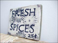 Vintage Farmhouse Wooden Fresh Spices Sign , $12.00