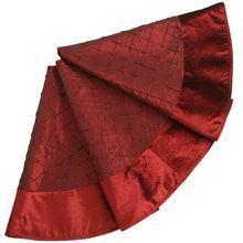 "EXTRA LARGE 50"" Faux Silk Deluxe Diamond Pintuck Christmas Tree Skirt Velvet Border Burgundy(China (Mainland))"