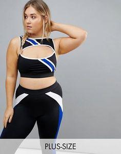 South Beach Plus Asymmetric Stripe Bra Top