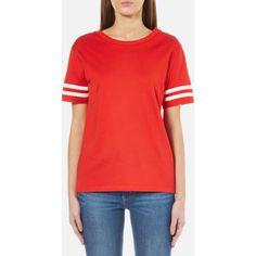 Levi's Women's Athletic T-Shirt - Flame Scarlet (120 BRL) ❤ liked on Polyvore featuring tops, t-shirts, red, stripe t shirt, short sleeve t shirts, striped sleeve t shirt, striped top and red striped tee