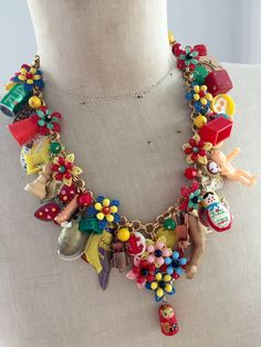 Vintage Toy Necklace Flower Statement  by rebecca3030.etsy.com