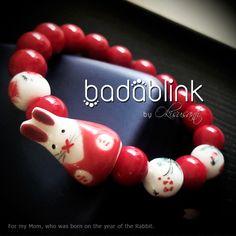 Red and white bunny rabbit bracelets  | Material: swarovski pearls and ceramic     | Length: 18-22 cm/7-9 inches      | Inquiries: facebook.com/badablink       | Line: badablink | Email: hello@thebadablink.com