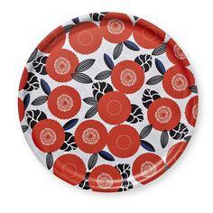Plateau rond en bouleau blanc motif rouge Mr & Mrs Clynk