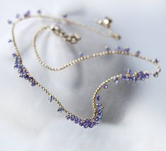 Gem Tanzanite Periwinkle Layering Gold Filled Strand Necklace - Jacinthe. $126.00, via Etsy.