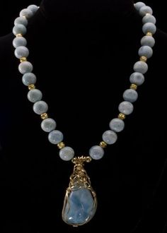 Larimar Bead and Gold Necklace
