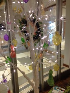 Spring and Easter décor at the St. Mary's Hospital Gift Shop. This lovely tree has lights and decorative eggs.
