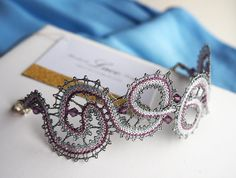 Items similar to Bobbin Lace patterns - bracelet and earrings. Pattern plus earrings findings and bracelet Lobster Clasp. on Etsy Bridal Lace Fabric, Embroidered Lace Fabric, Lace Necklace, Lace Jewelry, Bobbin Lace Patterns, Tie Pattern, Lace Heart, Antique Lace, Lace Design