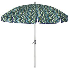 90 In Round Blue Patio Umbrella With Tilt And Crank